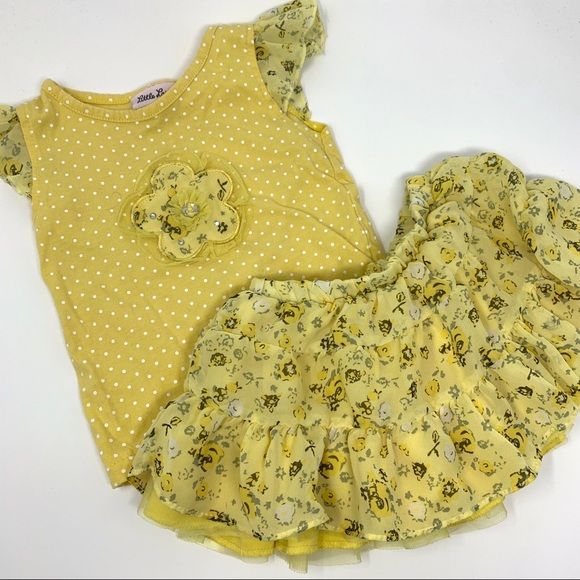 Little Lass yellow floral tutu outfit 2T polka dot